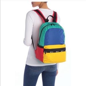 NWOT Lesportsac color block book bag backpack